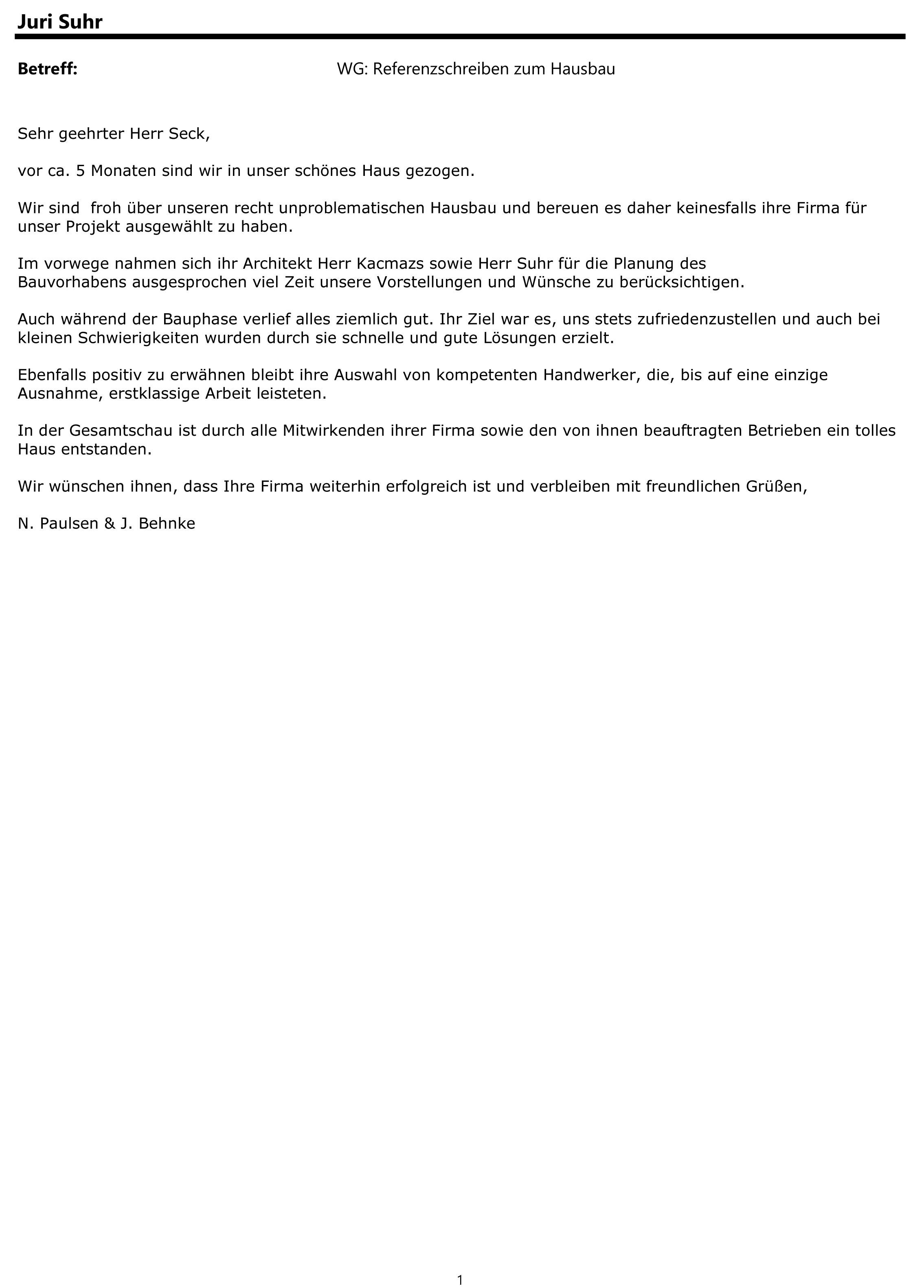 Breyer & Seck Bau   Referenzschreiben