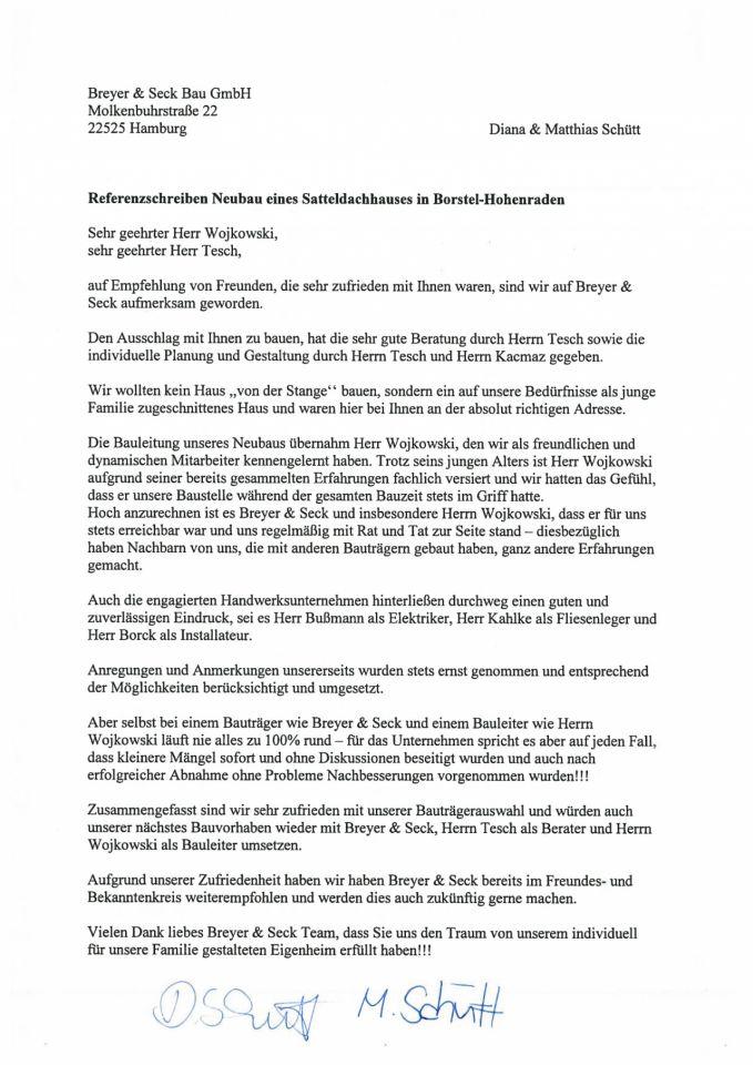 Breyer & Seck Bau | Referenzschreiben
